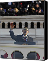 Democrats Canvas Prints - President Obama Gestures As He Delivers Canvas Print by Everett
