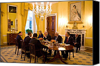 Diplomacy Canvas Prints - President Obama Hosts A Working Dinner Canvas Print by Everett