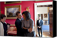 Barack Obama Portraits Canvas Prints - President Obama Hugs First Lady Canvas Print by Everett