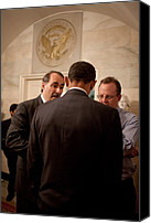 Bswh052011 Canvas Prints - President Obama In A Briefing Canvas Print by Everett