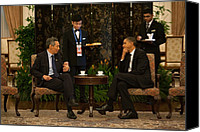 Diplomacy Canvas Prints - President Obama In A Meeting Canvas Print by Everett