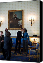 First Ladies Canvas Prints - President Obama Kisses First Lady Canvas Print by Everett
