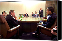 Bswh052011 Canvas Prints - President Obama Meeting With Former Canvas Print by Everett