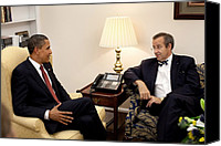 Bswh052011 Canvas Prints - President Obama Meets With Estonian Canvas Print by Everett
