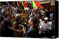 Bswh052011 Canvas Prints - President Obama Shakes Hands Canvas Print by Everett