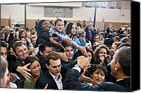Bswh052011 Canvas Prints - President Obama Shakes Hands Following Canvas Print by Everett