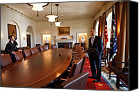 Bswh052011 Canvas Prints - President Obama Surveys The Cabinet Canvas Print by Everett