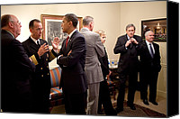 Bswh052011 Canvas Prints - President Obama Talks With Admiral Canvas Print by Everett