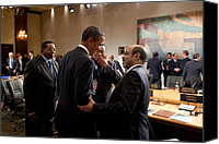 Obama Photo Canvas Prints - President Obama Talks With Ethiopian Canvas Print by Everett