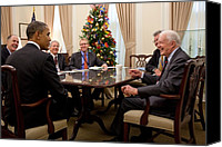 Bswh052011 Canvas Prints - President Obama Talks With Former Canvas Print by Everett