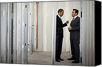 Bswh052011 Canvas Prints - President Obama Talks With Gov Canvas Print by Everett