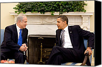 Diplomacy Canvas Prints - President Obama Talks With Israeli Canvas Print by Everett