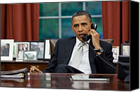Bswh052011 Canvas Prints - President Obama Talks With Janet Canvas Print by Everett