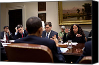 Bswh052011 Canvas Prints - President Obama Talks With Mona Sutphen Canvas Print by Everett