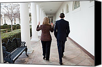 Bswh052011 Canvas Prints - President Obama Walks With Hillary Canvas Print by Everett