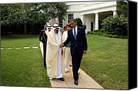Diplomacy Canvas Prints - President Obama Walks With King Canvas Print by Everett
