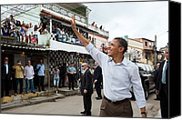 Bswh052011 Canvas Prints - President Obama Waves To People Canvas Print by Everett
