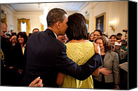 Obama Photo Canvas Prints - President Obama Whispers Into Michelles Canvas Print by Everett