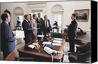 1980s Canvas Prints - President Reagan And His White House Canvas Print by Everett