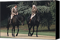 1980s Canvas Prints - President Reagan And Queen Elizabeth Ii Canvas Print by Everett
