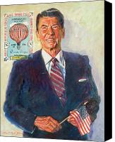Featured Painting Canvas Prints - President Reagan Balloon Stamp Canvas Print by David Lloyd Glover