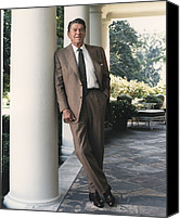 Politics Photo Canvas Prints - President Reagan On The White House Canvas Print by Everett