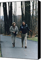 Meetings Canvas Prints - President Reagan Walking Canvas Print by Everett