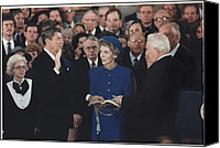 First Ladies Canvas Prints - President Reagan Was Sworn Canvas Print by Everett