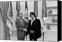 Politics Photo Canvas Prints - President Richard Nixon And Elvis Canvas Print by Everett