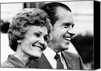 First Ladies Canvas Prints - President Richard Nixon And First Lady Canvas Print by Everett