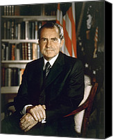 Politics Photo Canvas Prints - President Richard Nixon In An Official Canvas Print by Everett