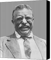Roosevelt Canvas Prints - President Teddy Roosevelt Canvas Print by War Is Hell Store