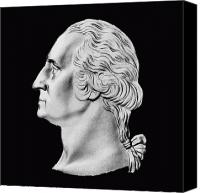 Us Patriot Canvas Prints - President Washington Bust  Canvas Print by War Is Hell Store
