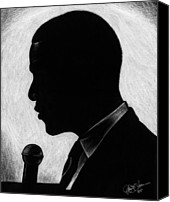Barack Obama Art Prints Canvas Prints - Presidential Silhouette Canvas Print by Jeff Stroman