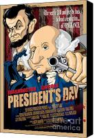Caricature Canvas Prints - Presidents Day The Movie Canvas Print by David E Wilkinson