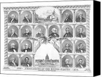 Hall Canvas Prints - Presidents Of The United States 1776-1876 Canvas Print by War Is Hell Store