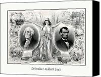 United States Drawings Canvas Prints - Presidents Washington and Lincoln Canvas Print by War Is Hell Store