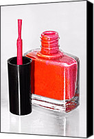 Bottle Brush Photo Canvas Prints - Pretty In Pink Finger Nail Polish Canvas Print by Tracie Kaska