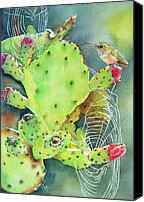 Lime Painting Canvas Prints - Prickly Pair Canvas Print by Patricia Pushaw