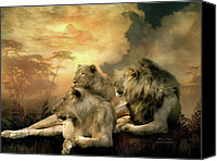 Lion Mixed Media Canvas Prints - Pride Canvas Print by Carol Cavalaris