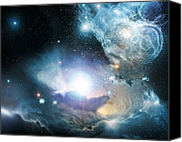 Blackhole Canvas Prints - Primordial Quasar, Artwork Canvas Print by Nasaesaesowolfram Freuding Et Al (stecf)