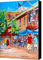 Resto Cafes Canvas Prints - Prince Arthur Street Summer Canvas Print by Carole Spandau