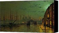 Grimshaw Canvas Prints - Princes Dock Hull Canvas Print by John Atkinson Grimshaw