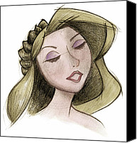Updo Mixed Media Canvas Prints - Princess - Drawing with Digital Color Canvas Print by Andrew Fling