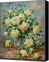 Arrangement Painting Canvas Prints - Princess Diana Roses in a Cut Glass Vase Canvas Print by Albert Williams