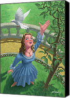 Martin Davey Digital Art Canvas Prints - Princess Releasing Bird Canvas Print by Martin Davey