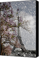 Tree Blossoms Canvas Prints - Printemps Parisienne Canvas Print by Joachim G Pinkawa
