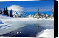 Mt. Rainier Canvas Prints - Pristine Canvas Print by Mike  Dawson