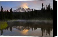 Mt. Rainier Canvas Prints - Pristine Reflections Canvas Print by Mike  Dawson
