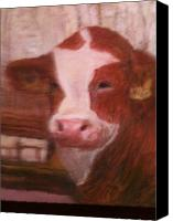 Bull Pastels Canvas Prints - Prized Bull Canvas Print by Richalyn Marquez